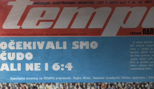 """Naslovna strana nedeljnika """"Tempo"""" posle 6:4 pobede nad Rumunijom"""
