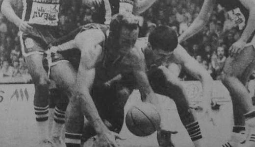 Detalj sa finalne utakmice Kupa Jugoslavije za košarkaše 1979. godine između Partizana i Zadra