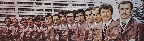 Rukometna kaznena ekspedicija, sleva: Lavrnić, Horvat, Miljak, Arslanagić, Lazarević, Vidović, Zorko, Selec, Mišković, Karalić, Pokrajac, Popović, Fajfrić, Živković i Pribanić.