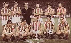 Ekipa Zvezde pojačana Stepanovićem (stoji prvi sleva), Jerkovićem (stoji drugi zdesna) i Petkovićem (čuči prvi sleva)