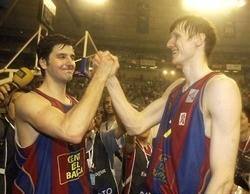 U istom dresu: Dejan Bodiroga (levo) i Gregor Fućka osvojili su sa Barselonom Evroligu 2003. godine