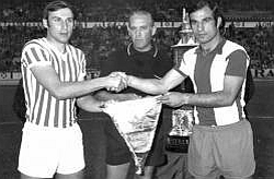 Kapiteni Zvezde i Depora Dragan Džajić i Manolete (FOTO:  rcdeportivo.es)