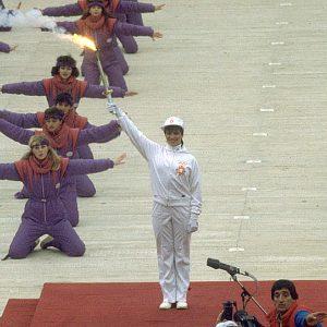 Sanda Dubravčić sa olimpijskom bakljom