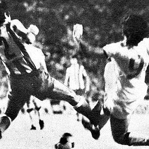 Detalj sa utakmice Atletiko - Partizan (0:1) na turniru u Madridu 1973. godine