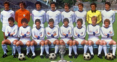 RIJEKA 1977/78 - stoje (sleva): Ružić, Ravnić. Barišić, Kustudić, Radin, Deveskovi, Avramović, Hrstić. Čuče (sleva): Car, Radović, Durkalić, Šugar, Cukrov, Makin, Juričić i Desnica.