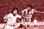 Milko Đurovski (prugasti dres, Zvezda) šutira na gol Partizana na Beogradskom turniru 1983. godine