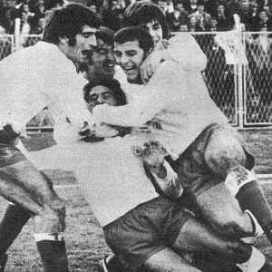 Rados igrača Hajduka posle postignutog gola protiv Crvene zvezde 1971. godine