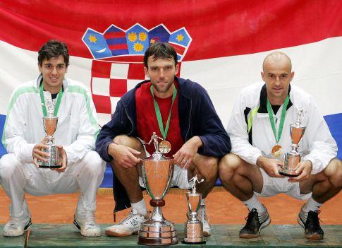 Teniseri Hrvatske, pobednici Svetskog ekipnog kupa 2006. godine (sleva): Mario Ančić, Ivo Karlović i Ivan Ljubičić