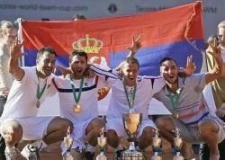 Teniseri Srbije, osvajači Svetskog ekipnog kupa 2012. godine (sleva): Nenad Zimonjić, Janko Tipsarević, Miki Janković i Viktor Troicki